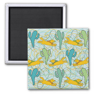 Coyotes with Cacti on Teal with Organic Shapes Fridge Magnet