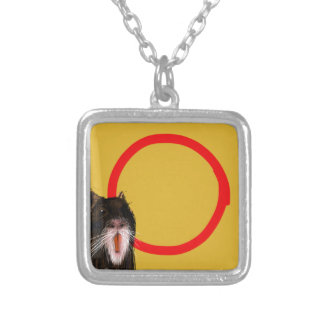Coypu with circle silver plated necklace