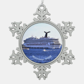 Cozumel Cruise Ship Visitor Dated Snowflake Pewter Christmas Ornament
