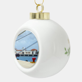 Cozumel Dockside Ceramic Ball Christmas Ornament