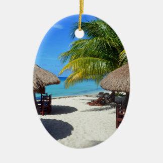 Cozumel Mexico Beach Hut Palm Tree Teal Water Vaca Ceramic Oval Decoration