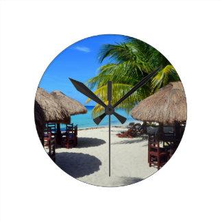 Cozumel Mexico Beach Hut Palm Tree Teal Water Vaca Wallclocks