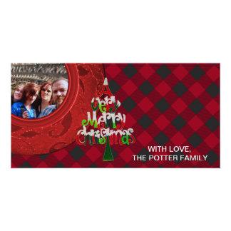 Cozy Buffalo Plaid Black Red Holiday Photo Photo Card