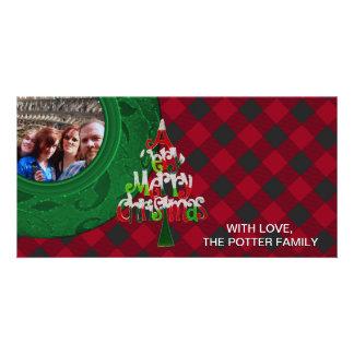 Cozy Buffalo Plaid Green Bright Red Christmas Personalised Photo Card