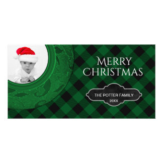 Cozy Buffalo Plaid Green | Custom Holiday Photo Custom Photo Card