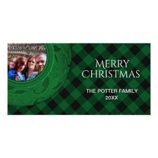 Cozy Buffalo Plaid Green Custom Holiday Photo Custom Photo Card
