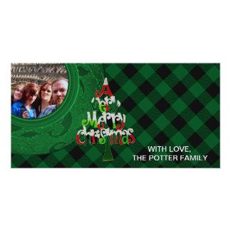Cozy Buffalo Plaid Green | Custom Photo Photo Greeting Card