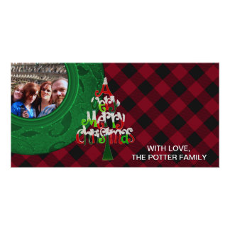 Cozy Buffalo Plaid Green Red Merry Christmas Customised Photo Card
