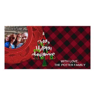 Cozy Buffalo Plaid Red Black Merry Christmas Photo Cards