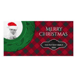 Cozy Buffalo Plaid | Red Checkered Holiday Photo Photo Card
