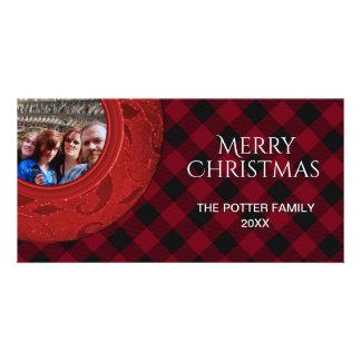 Cozy Buffalo Plaid Red Holiday Photo Card