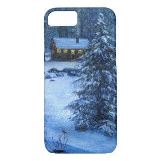 """Cozy Cabin in the Snow"" Phone Case"