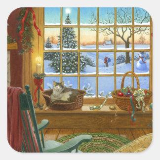 Cozy cat Christmas Square Sticker