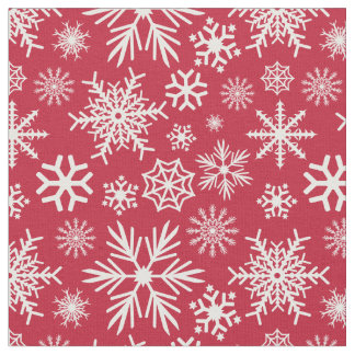 Cozy Chic Red Winter Snowflakes Pattern Fabric