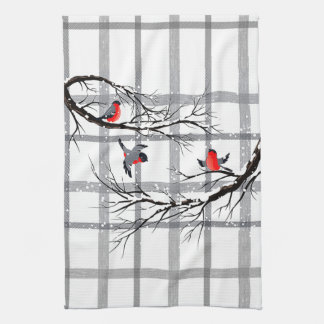 Cozy Country Cottage Winter Birds Kitchen Towel