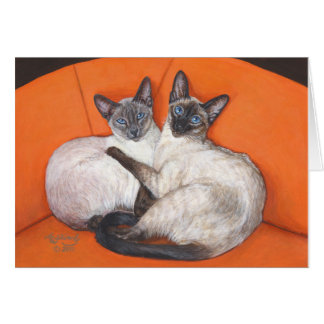 Cozy Couple Siamese Cat Card
