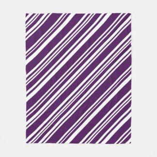 Cozy Diagonal Purple and White Stripes Fleece Blanket
