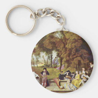 Cozy Entertainment Outdoors By Watteau Antoine Keychains
