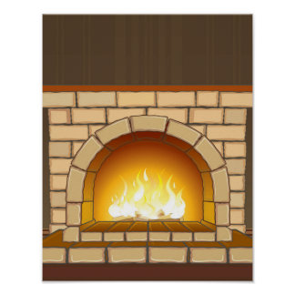 Cozy Fireplace Illustration Poster