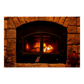 Cozy fireplace poster. poster