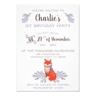 Cozy Fox and Purple Branches Watercolor Birthday Invitation