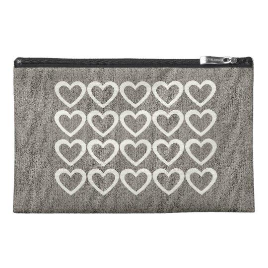 Cozy Grey Cream Hearts Bag