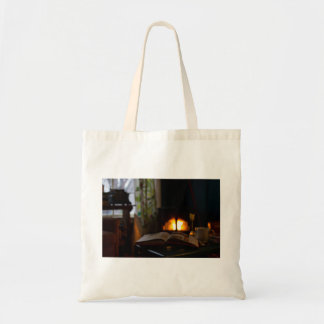 Cozy living room with fireplace and tea budget tote bag