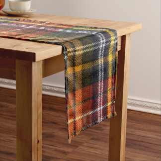 Cozy  Orange and Navy Tartan Flannel  Table Runner