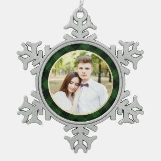 Cozy Plaid   Green and Black Buffalo Plaid Holiday Pewter Snowflake Decoration
