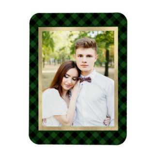 Cozy Plaid | Green and Black Buffalo Plaid Photo Magnet