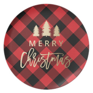 Cozy Plaid | Merry Christmas Party Plate