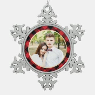 Cozy Plaid   Red and Black Buffalo Plaid Holiday Pewter Snowflake Decoration