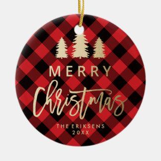 Cozy Plaid | Red and Black Buffalo Plaid Photo Christmas Ornament
