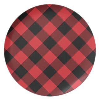Cozy Plaid | Red and Black Buffalo Plaid Plate