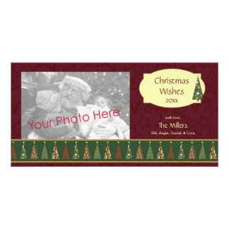 Cozy Red and Green Christmas Tree Photo Card