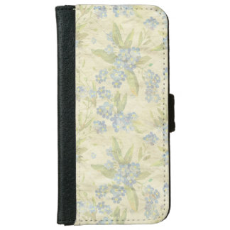 Cozy vintage floral textile Forget Me Not iPhone 6 Wallet Case