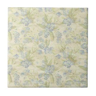 Cozy vintage floral textile Forget Me Not Tile