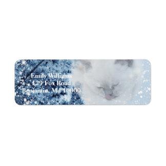 Cozy White Cat Snowy Winter Forest Return Address Label