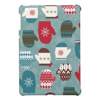 Cozy Winter Christmas Mittens Blue iPad Mini Cases