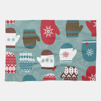 Cozy Winter Christmas Mittens Blue Tea Towel