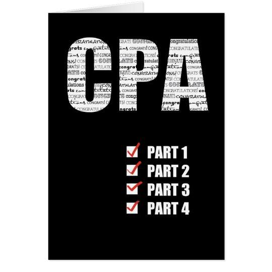 CPA Congratulations Passing All 4 Parts Black Card