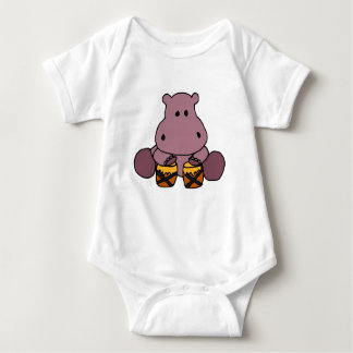 CQ- Awesome Hippo Playing Bongo Drums Baby Bodysuit