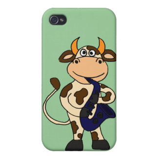 CR- Funny Cow Playing Saxo Cartoon iPhone 4 Cover