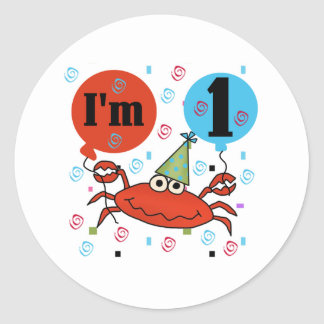 Crab 1st Birthday Round Sticker