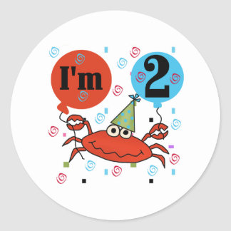 Crab 2nd Birthday Classic Round Sticker