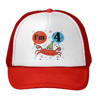 Crab 4th Birthday Tshirts and Gifts Hats