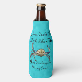Crab And Funny Catching Crabs Logo, Bottle Cooler
