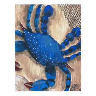 Crab and Net Postcard