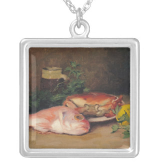 Crab and Red Mullet Silver Plated Necklace