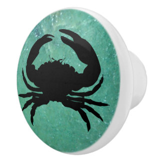Crab and Seagreen Background Knob